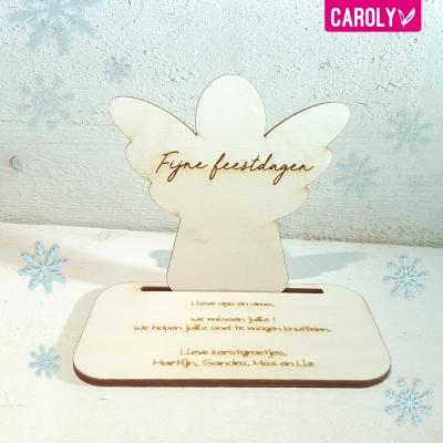 Houten kerstkaart - engel