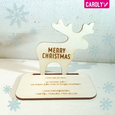Houten kerstkaart - rendier