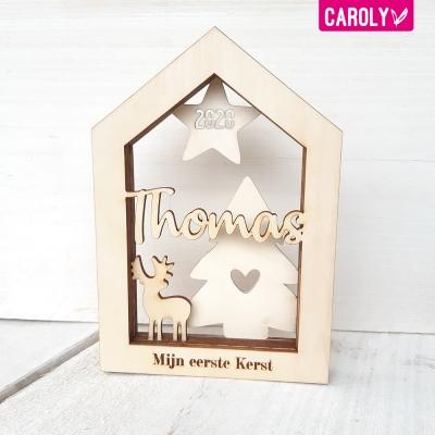 """Houten huisje """"mijn eerste kerst"""" met naam"""