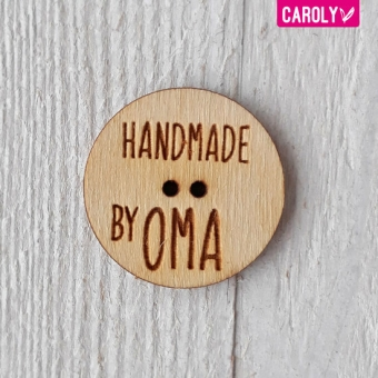 "Houten knoop ""handmade by oma"""