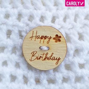 """Houten knoop """"happy birthday"""" bloem"""