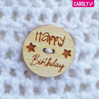 "Houten knoop ""happy birthday"" ster"