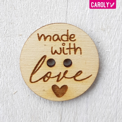 "Houten knoop ""made with love"""