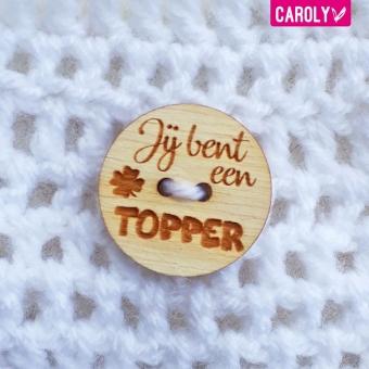 """Houten knoop """"topper"""""""