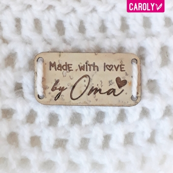 """Label kurk """"Made with love by Oma"""" 20x40mm"""