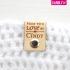 """Leren label """"made with love by"""" met naam 25x70mm bovenkant"""