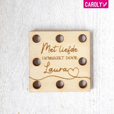"""Square """"met liefde gemaakt door"""" met naam"""